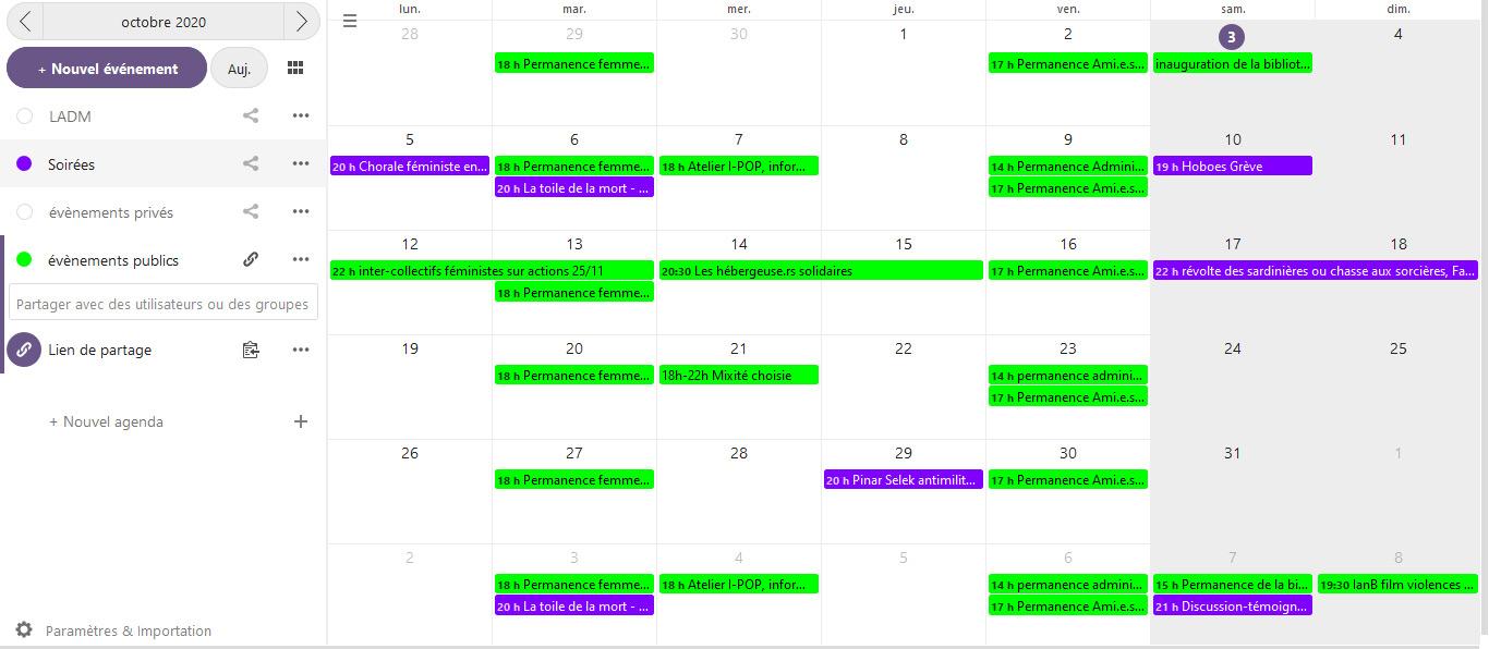 Calendrier des évènements du mois